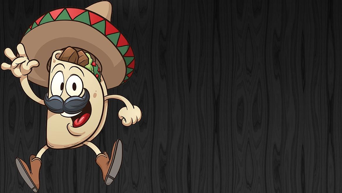 Kid's Menu. Mexican Cartoon Taco with Hat.
