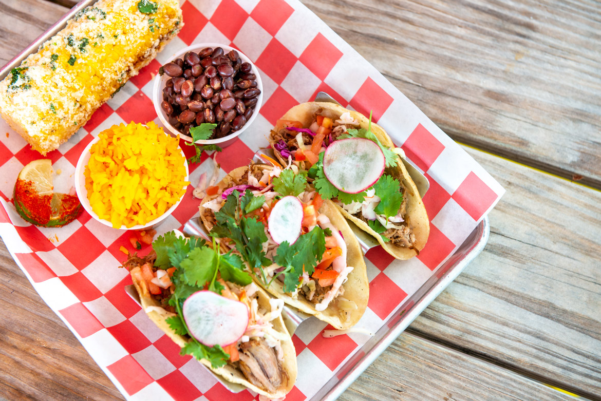 Three tacos served with black beans, rice and our signature grande roasted corn on the cob.